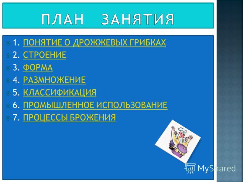 1. ПОНЯТИЕ О ДРОЖЖЕВЫХ ГРИБКАХПОНЯТИЕ О ДРОЖЖЕВЫХ ГРИБКАХ 2. СТРОЕНИЕСТРОЕНИЕ 3. ФОРМАФОРМА 4. РАЗМНОЖЕНИЕРАЗМНОЖЕНИЕ 5. КЛАССИФИКАЦИЯКЛАССИФИКАЦИЯ 6. ПРОМЫШЛЕННОЕ ИСПОЛЬЗОВАНИЕПРОМЫШЛЕННОЕ ИСПОЛЬЗОВАНИЕ 7. ПРОЦЕССЫ БРОЖЕНИЯПРОЦЕССЫ БРОЖЕНИЯ