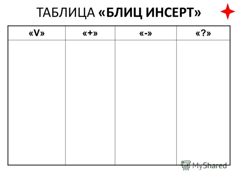 ТАБЛИЦА «БЛИЦ ИНСЕРТ» «V»«V»«+»«-»«?»