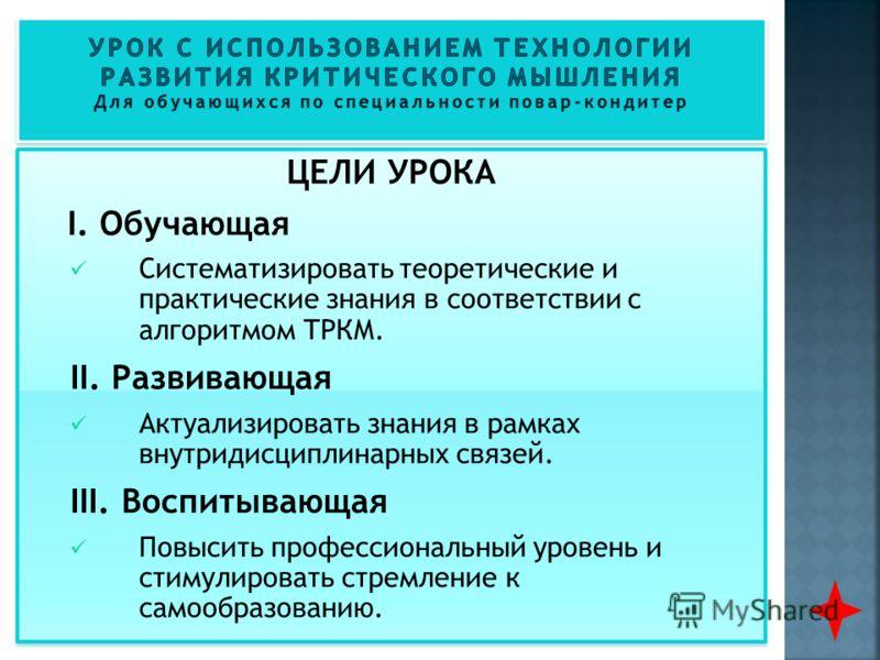 ЦЕЛИ УРОКА I. Обучающая Систематизировать теоретические и практические знания в соответствии с алгоритмом ТРКМ. II. Развивающая Актуализировать знания в рамках внутридисциплинарных связей. III. Воспитывающая Повысить профессиональный уровень и стимул