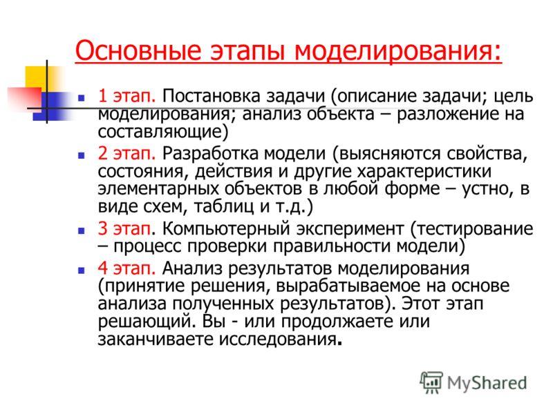 Основные этапы моделирования: 1 этап. Постановка задачи (описание задачи; цель моделирования; анализ объекта – разложение на составляющие) 2 этап. Разработка модели (выясняются свойства, состояния, действия и другие характеристики элементарных объект