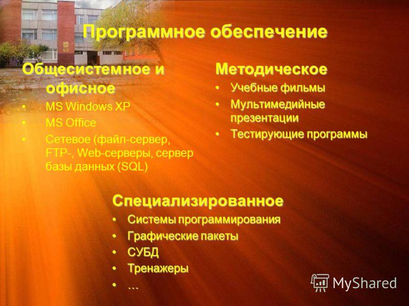 Программное обеспечение Общесистемное и офисное MS Windows XP MS Office Сетевое (файл-сервер, FTP-, Web-серверы, сервер базы данных (SQL)Методическое Учебные фильмыУчебные фильмы Мультимедийные презентацииМультимедийные презентации Тестирующие програ