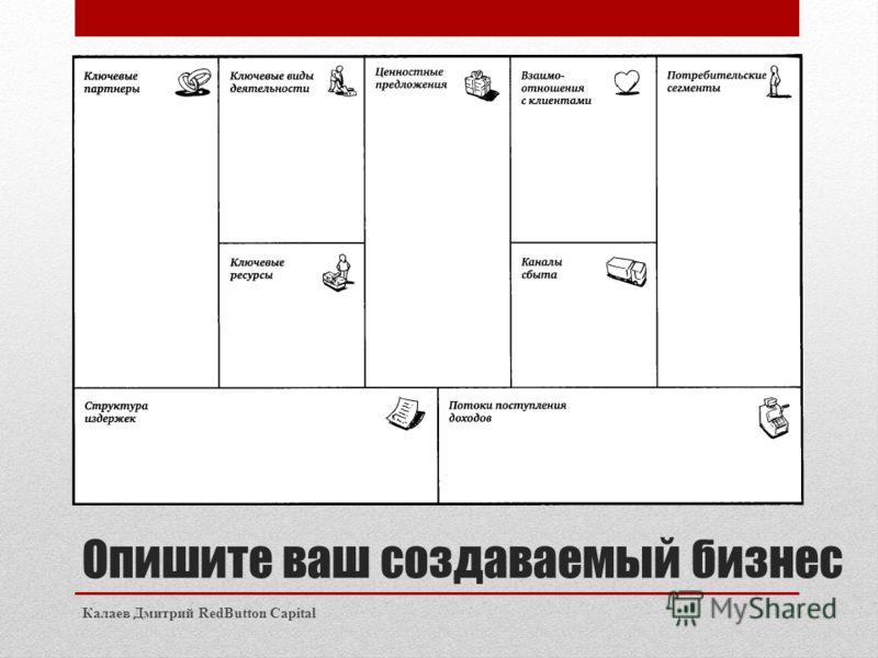 Опишите ваш создаваемый бизнес Калаев Дмитрий RedButton Capital