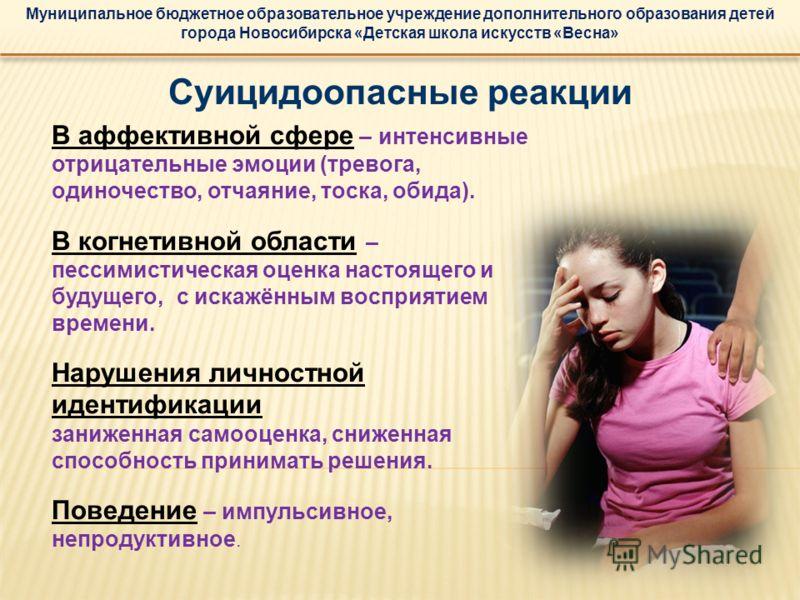 Муниципальное бюджетное образовательное учреждение дополнительного образования детей города Новосибирска «Детская школа искусств «Весна» Суицидоопасные реакции В аффективной сфере – интенсивные отрицательные эмоции (тревога, одиночество, отчаяние, то
