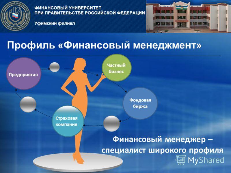 Профиль «Финансовый менеджмент» Страховая компания Финансовый менеджер – специалист широкого профиля Частный бизнес Фондовая биржа Предприятия