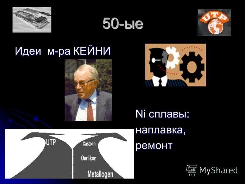 50-ые Идеи м-ра КЕЙНИ Ni сплавы: Ni сплавы: наплавка, наплавка, ремонт ремонт