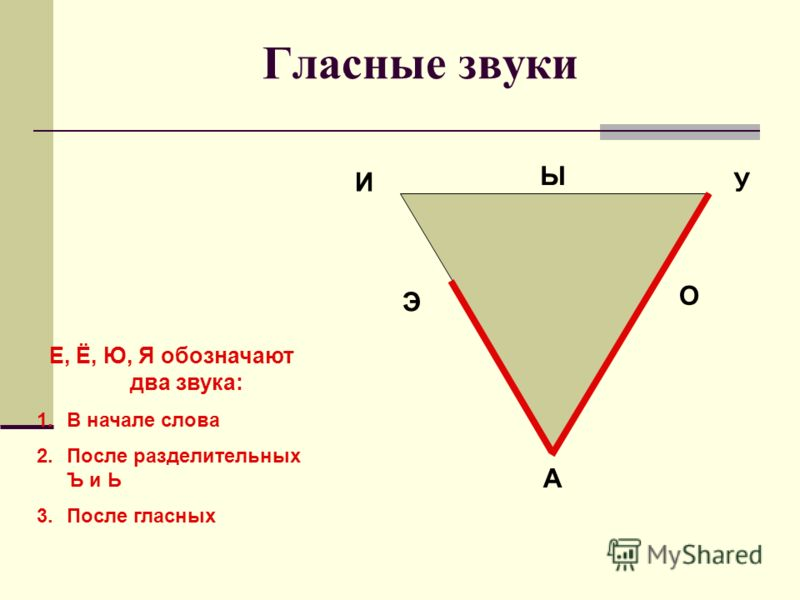 Гласные звуки ИУ Э О А Ы Е, Ё, Ю, Я обозначают два звука: 1.В начале слова 2.После разделительных Ъ и Ь 3.После гласных