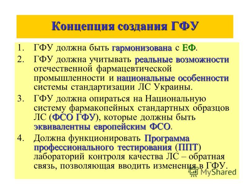 Концепция создания ГФУ гармонизованаЕФ 1.ГФУ должна быть гармонизована с ЕФ. реальные возможности национальные особенности 2.ГФУ должна учитывать реальные возможности отечественной фармацевтической промышленности и национальные особенности системы ст