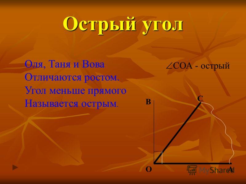 Острый угол Оля, Таня и Вова Отличаются ростом. Угол меньше прямого Называется острым. В ОА С СОА - острый
