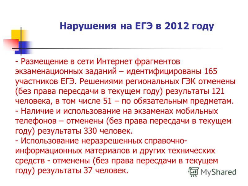 Нарушения на ЕГЭ в 2012 году - Размещение в сети Интернет фрагментов экзаменационных заданий – идентифицированы 165 участников ЕГЭ. Решениями региональных ГЭК отменены (без права пересдачи в текущем году) результаты 121 человека, в том числе 51 – по