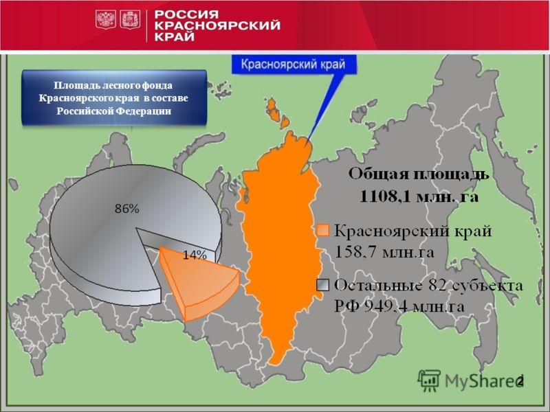 Площадь лесного фонда Красноярского края в составе Российской Федерации 2