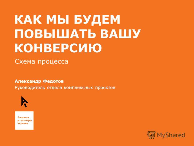 КАК МЫ БУДЕМ ПОВЫШАТЬ ВАШУ КОНВЕРСИЮ Схема процесса Александр Федотов Руководитель отдела комплексных проектов