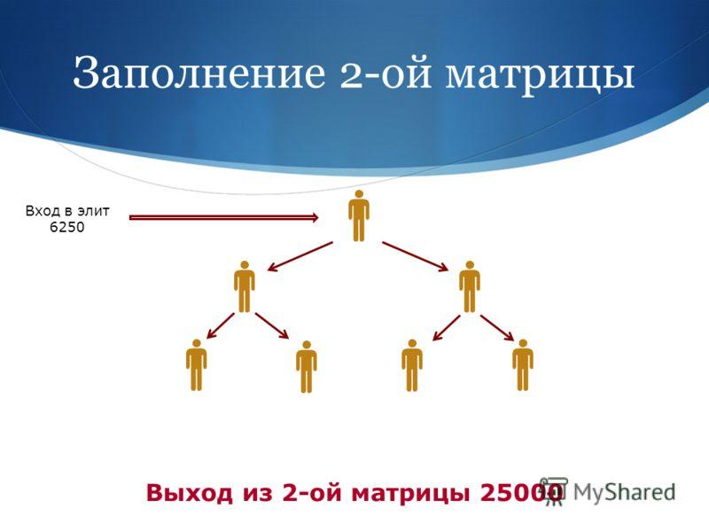 Заполнение 2-ой матрицы Вход в элит 6250 Выход из 2-ой матрицы 25000