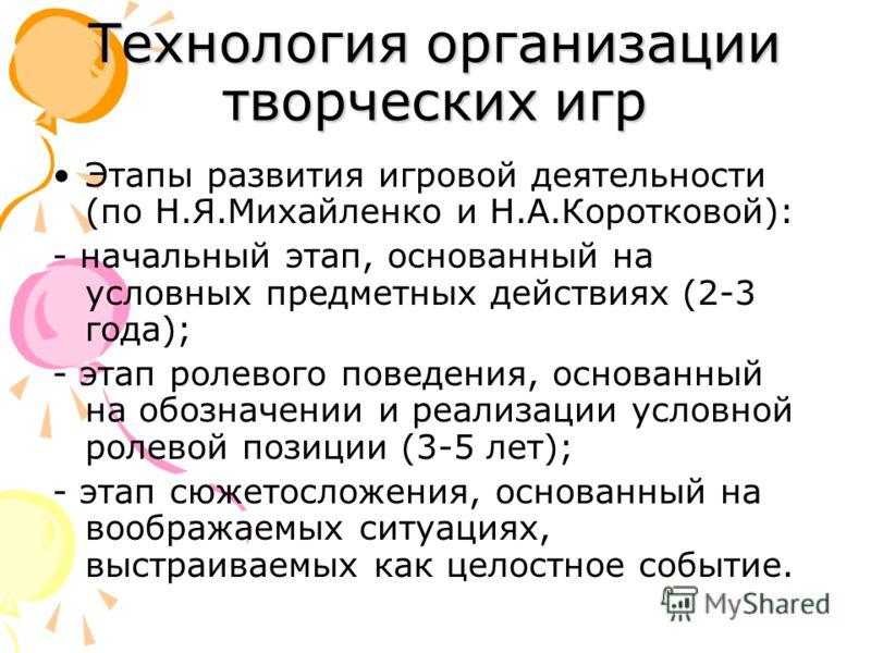 Технология организации творческих игр Этапы развития игровой деятельности (по Н.Я.Михайленко и Н.А.Коротковой): - начальный этап, основанный на условных предметных действиях (2-3 года); - этап ролевого поведения, основанный на обозначении и реализаци