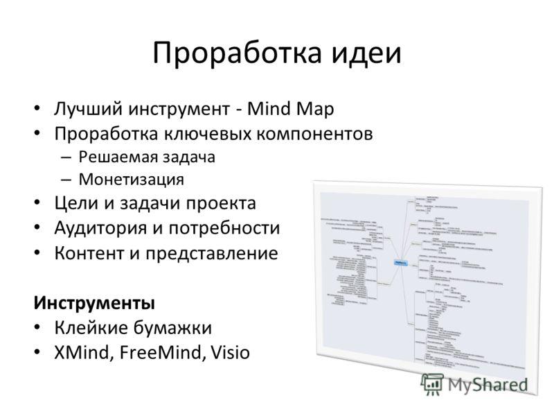 Проработка идеи Лучший инструмент - Mind Map Проработка ключевых компонентов – Решаемая задача – Монетизация Цели и задачи проекта Аудитория и потребности Контент и представление Инструменты Клейкие бумажки XMind, FreeMind, Visio
