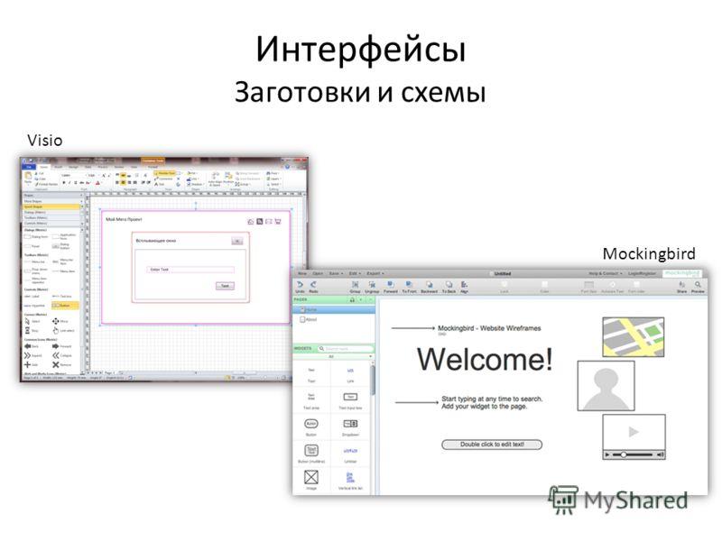 Интерфейсы Заготовки и схемы Visio Mockingbird