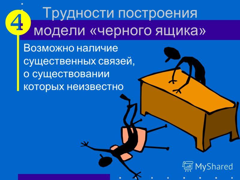 Трудности построения модели «черного ящика» Не всегда очевидно, к чему отнести связь: ко входам или к выходам