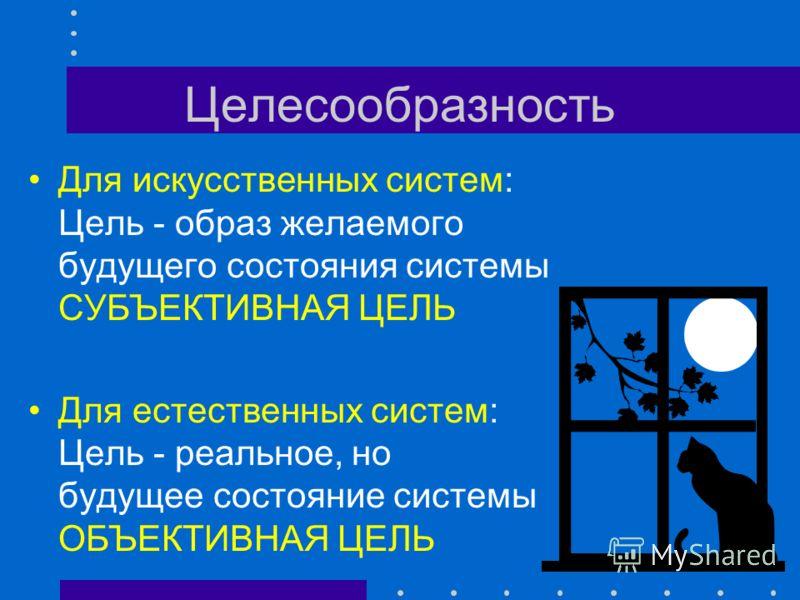 Целесообразность Цель - будущее состояние системы Y * (t) Состояние Время 1 2 Y0Y0 Y * T0T0 T * Цель