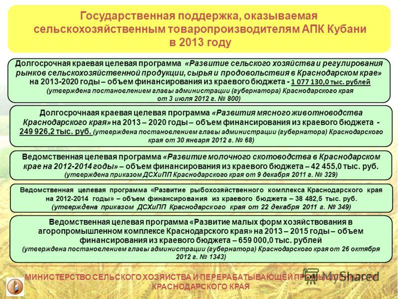 Государственная поддержка, оказываемая сельскохозяйственным товаропроизводителям АПК Кубани в 2013 году Долгосрочная краевая целевая программа «Развитие сельского хозяйства и регулирования рынков сельскохозяйственной продукции, сырья и продовольствия
