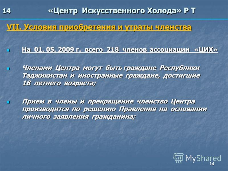 14 14 «Центр Искусственного Холода» Р Т VII. Условия приобретения и утраты членства На 01. 05. 2009 г. всего 218 членов ассоциации «ЦИХ» На 01. 05. 2009 г. всего 218 членов ассоциации «ЦИХ» Членами Центра могут быть граждане Республики Таджикистан и