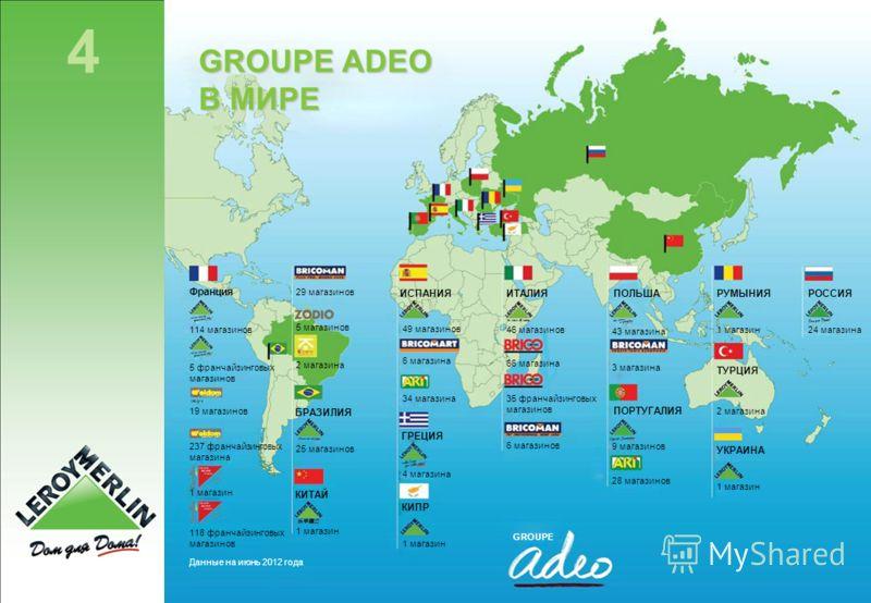 4 www.leroymerlin.ru GROUPE ADEO В МИРЕ Франция 114 магазинов 5 франчайзинговых магазинов 19 магазинов 237 франчайзинговых магазина 1 магазин 118 франчайзинговых магазинов Данные на июнь 2012 года 29 магазинов 5 магазинов 2 магазина БРАЗИЛИЯ 25 магаз