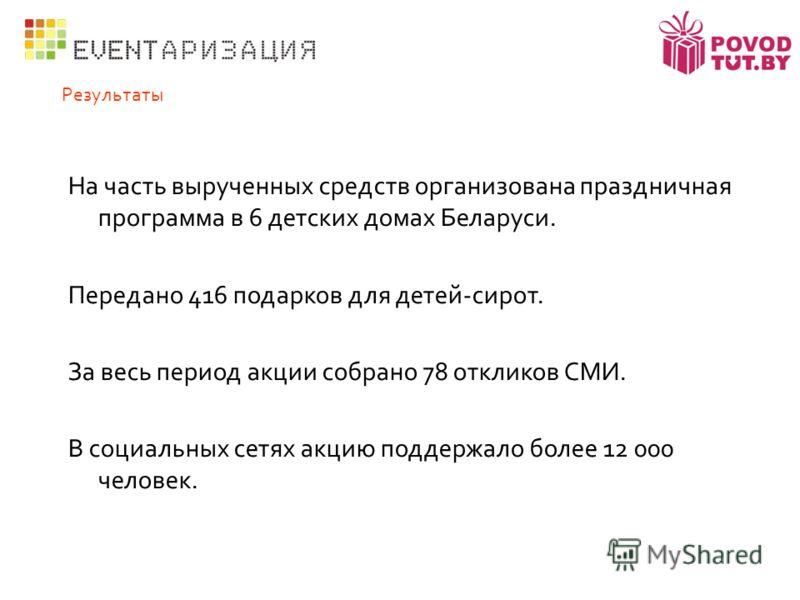 Результаты На часть вырученных средств организована праздничная программа в 6 детских домах Беларуси. Передано 416 подарков для детей-сирот. За весь период акции собрано 78 откликов СМИ. В социальных сетях акцию поддержало более 12 000 человек.