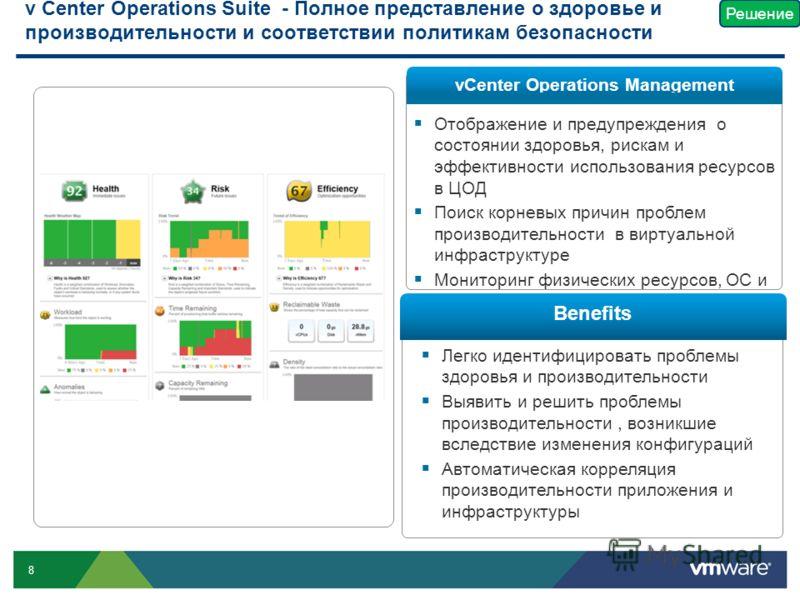 8 Отображение и предупреждения о состоянии здоровья, рискам и эффективности использования ресурсов в ЦОД Поиск корневых причин проблем производительности в виртуальной инфраструктуре Мониторинг физических ресурсов, ОС и приложений Легко идентифициров
