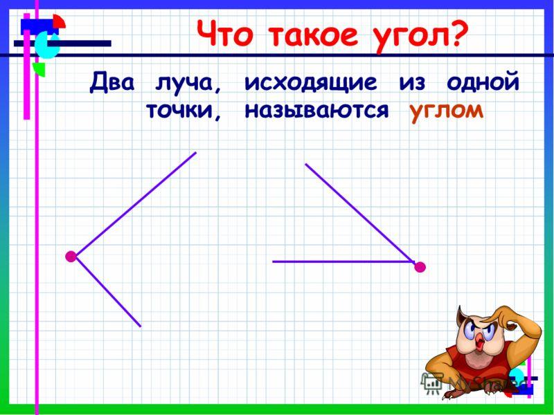 Что такое угол? Два луча, исходящие из одной точки, называются углом