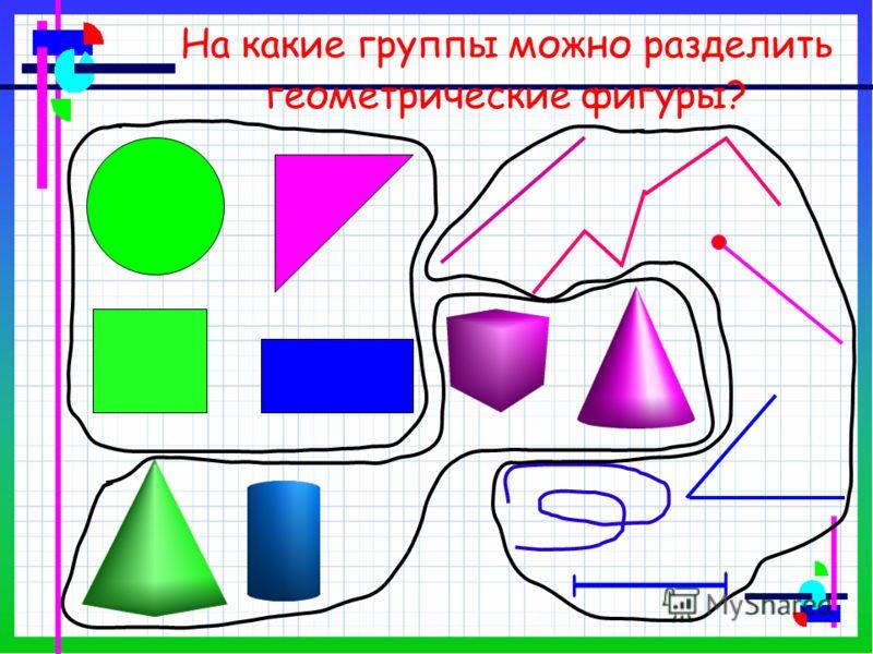 На какие группы можно разделить геометрические фигуры?