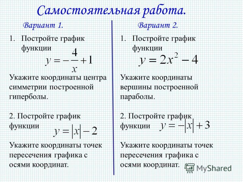 Самостоятельная работа. 1.Постройте график функции Укажите координаты центра симметрии построенной гиперболы. 2. Постройте график функции Укажите координаты точек пересечения графика с осями координат. 1.Постройте график функции Укажите координаты ве