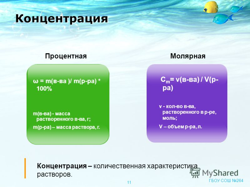 ω = m(в-ва )/ m(р-ра) * 100% m(в-ва) - масса растворенного в-ва, г; m(р-ра) – масса раствора, г. C m = ν(в-ва) / V(р- ра) v - кол-во в-ва, растворенного в р-ре, моль; V – объем р-ра, л. ПроцентнаяМолярная Концентрация Концентрация – количественная ха