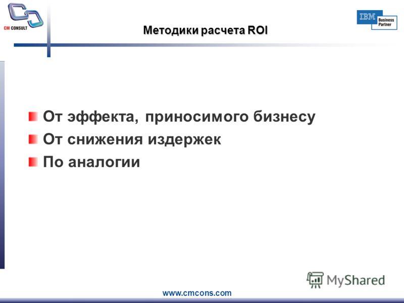 www.cmcons.com Методики расчета ROI От эффекта, приносимого бизнесу От снижения издержек По аналогии