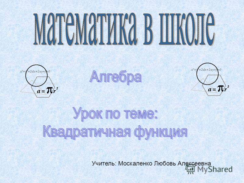 Учитель: Москаленко Любовь Алексеевна