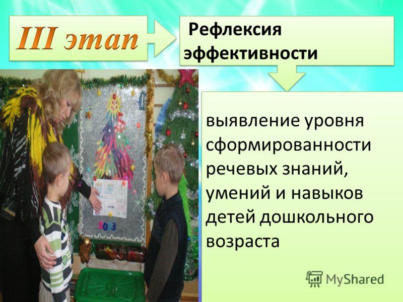 Рефлексия эффективности. Рефлексия эффективности. выявление уровня сформированности речевых знаний, умений и навыков детей дошкольного возраста