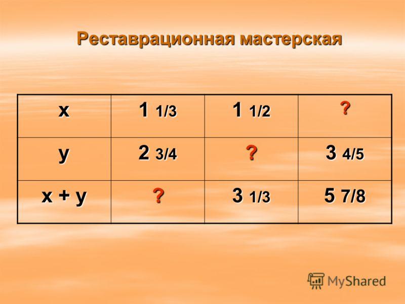 Реставрационная мастерская х 1 1/3 1 1/2 ? у 2 3/4 ? 3 4/5 х + у ? 3 1/3 5 7/8