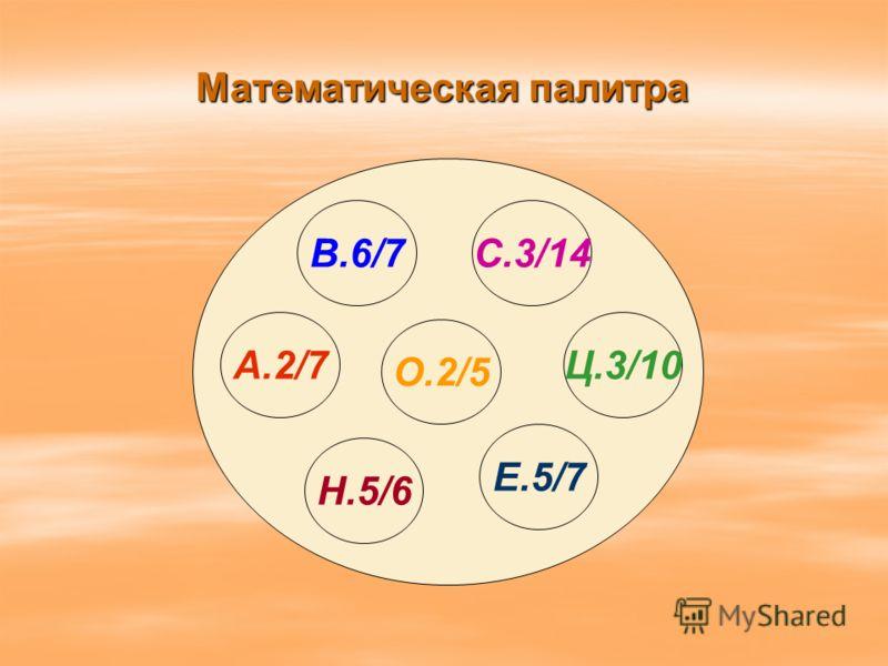 Математическая палитра B.6/7 О.2/5 А.2/7 Н.5/6 C.3/14 Ц.3/10 Е.5/7