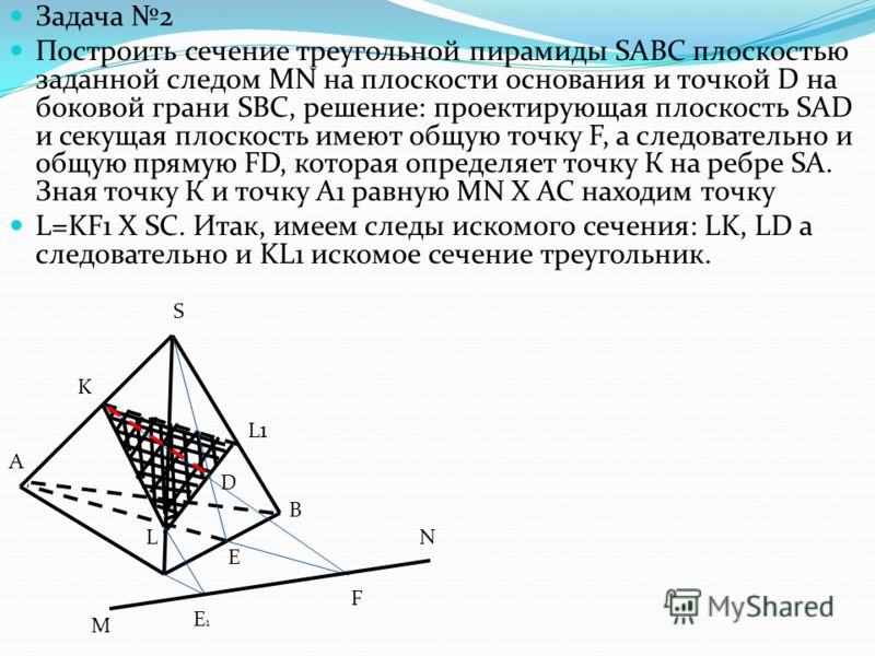 Задача 2 Построить сечение треугольной пирамиды SABC плоскостью заданной следом MN на плоскости основания и точкой D на боковой грани SBC, решение: проектирующая плоскость SAD и секущая плоскость имеют общую точку F, а следовательно и общую прямую FD