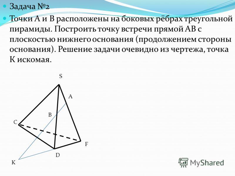 Задача 2 Точки А и В расположены на боковых рёбрах треугольной пирамиды. Построить точку встречи прямой АВ с плоскостью нижнего основания (продолжением стороны основания). Решение задачи очевидно из чертежа, точка К искомая. S F C D K B А
