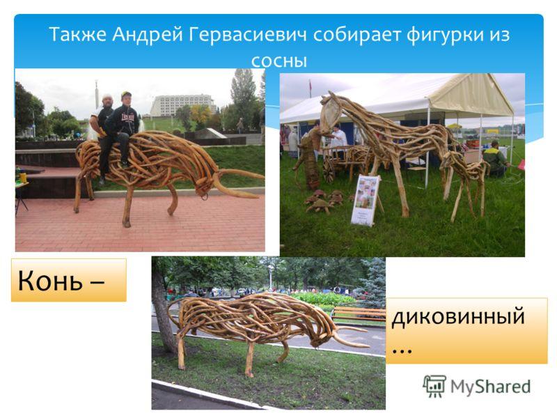 Также Андрей Гервасиевич собирает фигурки из сосны Конь – диковинный …
