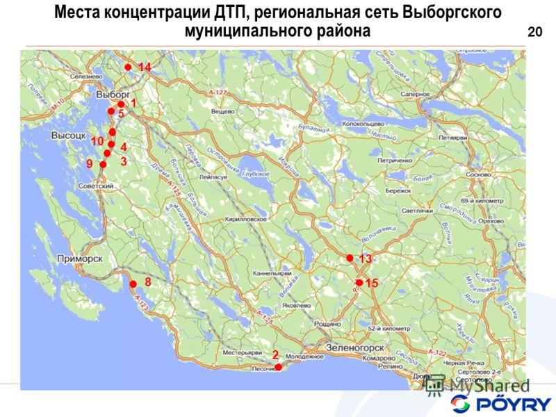 20 Места концентрации ДТП, региональная сеть Выборгского муниципального района 10 2 4343 5 9 1 13 14 8 15