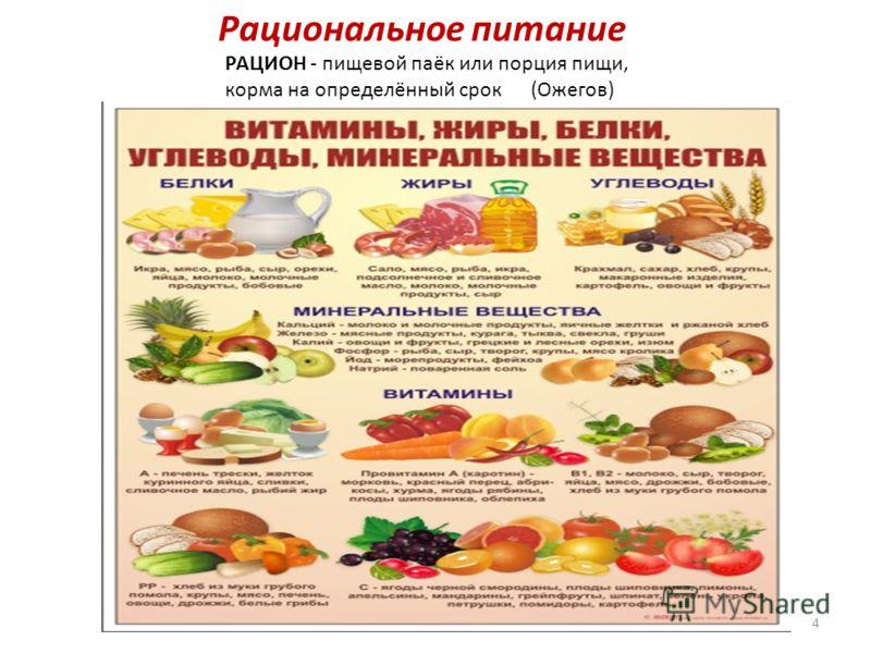 Рациональное питание РАЦИОН - пищевой паёк или порция пищи, корма на определённый срок (Ожегов) 4