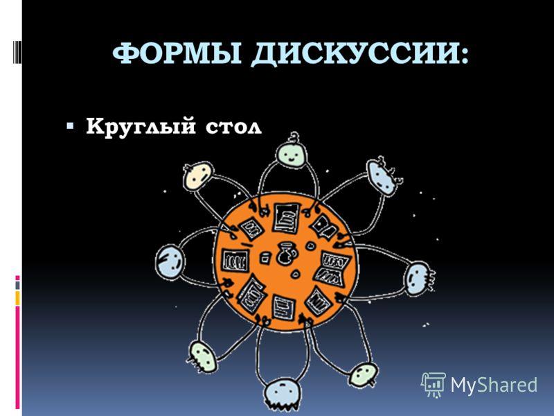 ФОРМЫ ДИСКУССИИ: Круглый стол