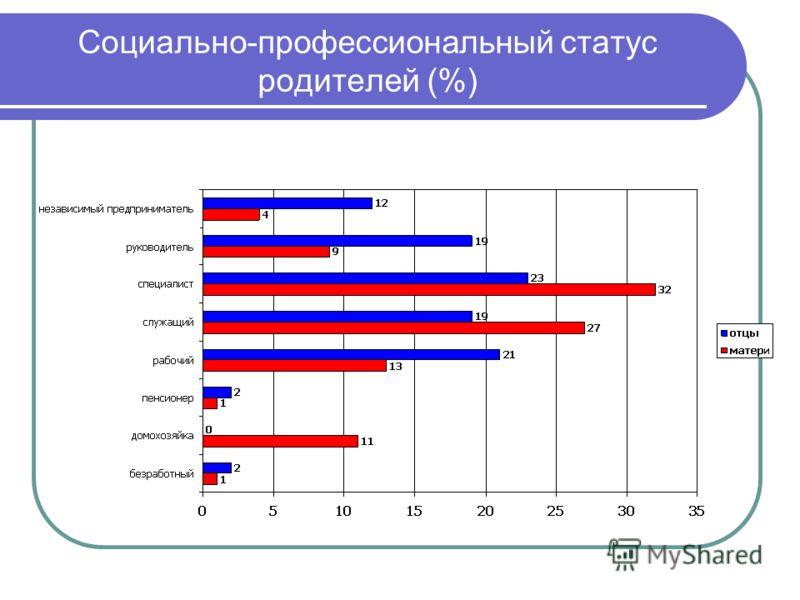 Социально-профессиональный статус родителей (%)