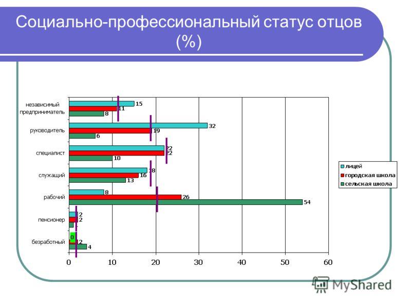 Социально-профессиональный статус отцов (%)