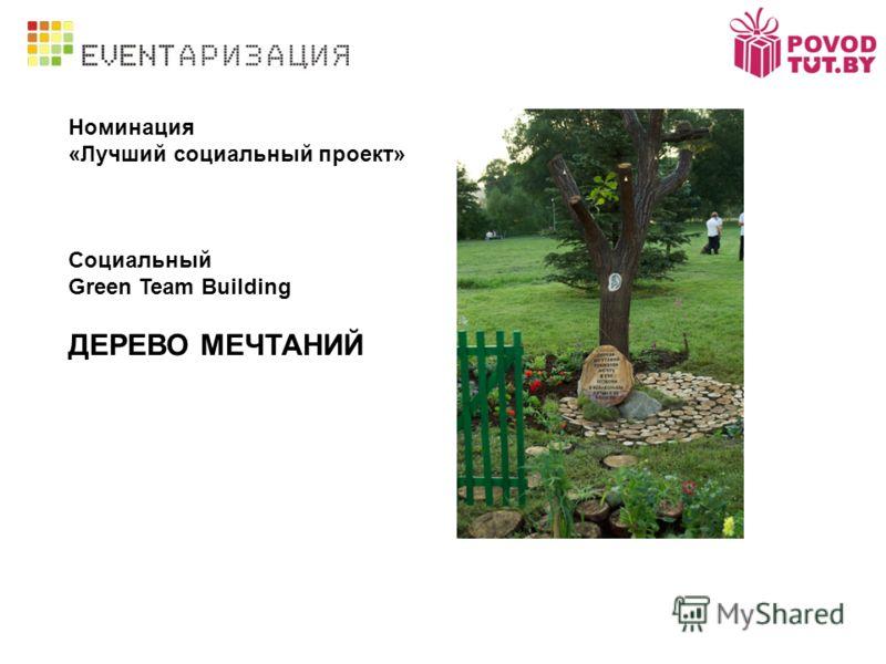 Номинация «Лучший социальный проект» Социальный Green Team Building ДЕРЕВО МЕЧТАНИЙ