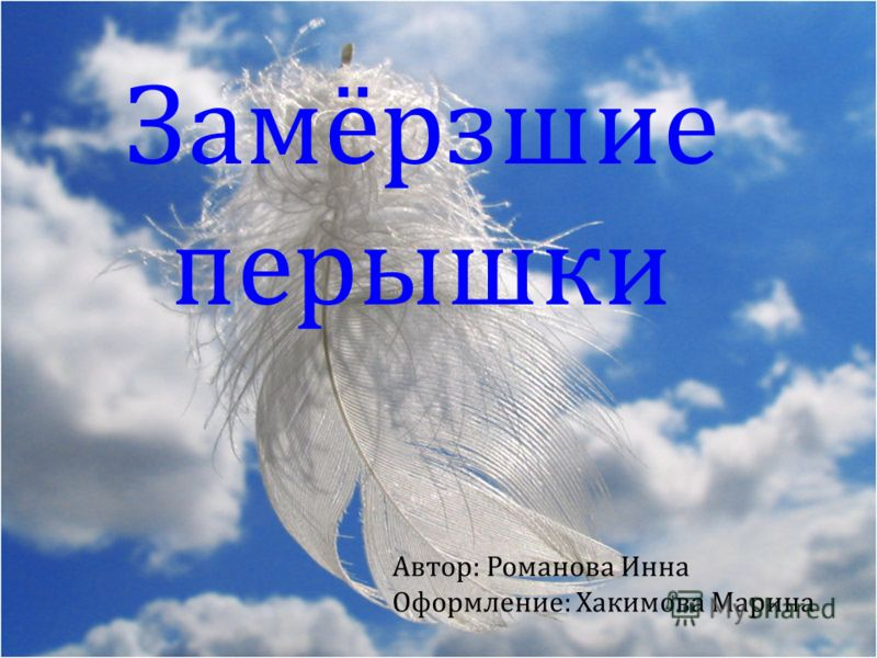Замёрзшие перышки Автор: Романова Инна Оформление: Хакимова Марина