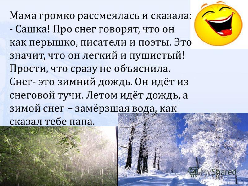 Мама громко рассмеялась и сказала: - Сашка! Про снег говорят, что он как перышко, писатели и поэты. Это значит, что он легкий и пушистый! Прости, что сразу не объяснила. Снег- это зимний дождь. Он идёт из снеговой тучи. Летом идёт дождь, а зимой снег