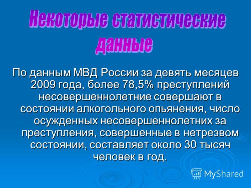 По данным МВД России за девять месяцев 2009 года, более 78,5% преступлений несовершеннолетние совершают в состоянии алкогольного опьянения, число осужденных несовершеннолетних за преступления, совершенные в нетрезвом состоянии, составляет около 30 ты