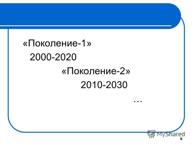 6 «Поколение-1» 2000-2020 «Поколение-2» 2010-2030 …