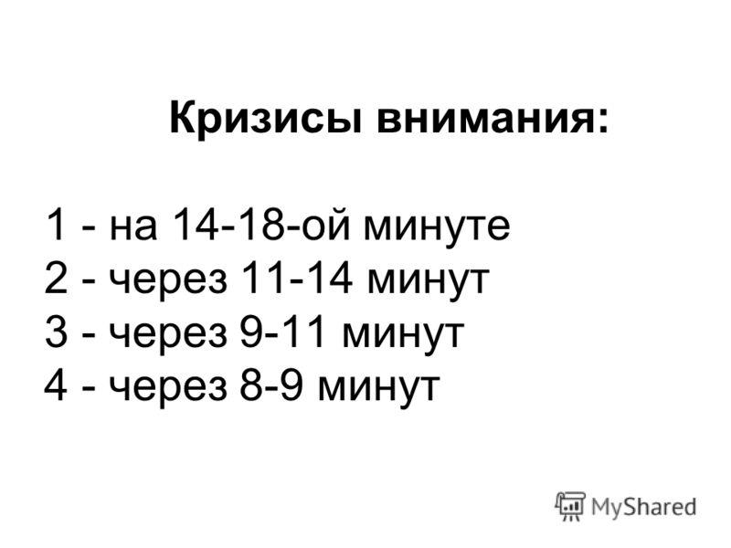 Кризисы внимания: 1 - на 14-18-ой минуте 2 - через 11-14 минут 3 - через 9-11 минут 4 - через 8-9 минут
