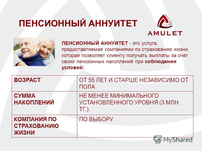 ПЕНСИОННЫЙ АННУИТЕТ - это услуга, предоставляемая компаниями по страхованию жизни, которая позволяет клиенту получать выплаты за счет своих пенсионных накоплений при соблюдении условий: ПЕНСИОННЫЙ АННУИТЕТ ВОЗРАСТОТ 55 ЛЕТ И СТАРШЕ НЕЗАВИСИМО ОТ ПОЛА